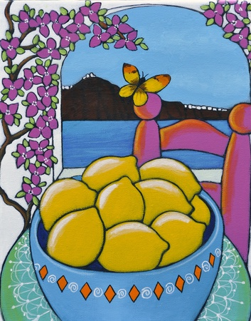 caldera: Painting of a bowl of lemons on the island of Santtorini in Greece