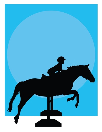 Silhouette of a child jumping a horse against a blue background