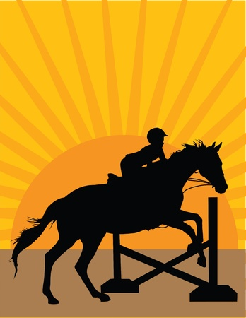 children silhouettes: Silhouette of a child jumping a horse against an orange sunset background