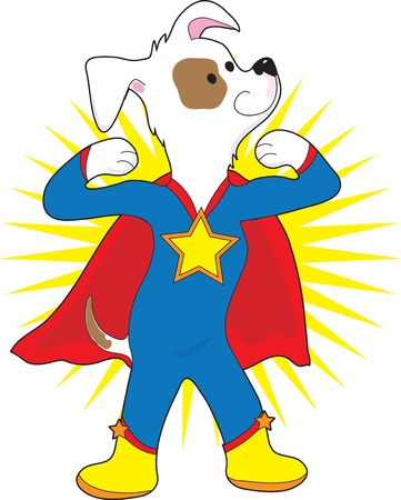 super dog: A spotted dog dressed as a super hero showing off his muscles