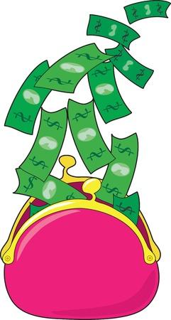 flying money: Una bolsa de dinero rosa est� abierta y billetes de d�lares est�n volando fuera de �l