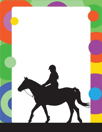 A silhouette of a horse and rider is part of this colorful frame or border Illustration