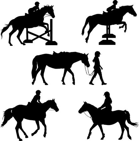 caballo saltando: Un grupo de cinco silhouettes niños y caballos con Vectores