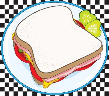 deli meat: A deli sandwich on a plate with some pickle slices