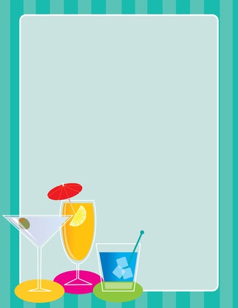 alcoholic beverage: A frame or border featuring a set of three cocktails in one corner