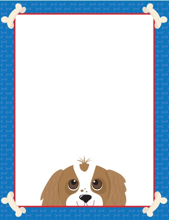 A frame or border featuring the face of a Cavalier King Charles Spaniel