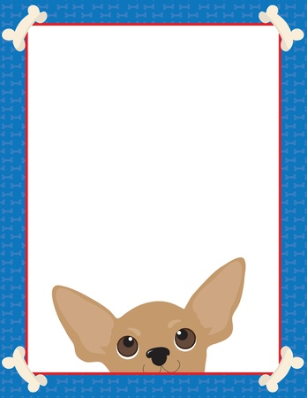 animal border: A frame or border featuring the face of a Chihuahua Illustration
