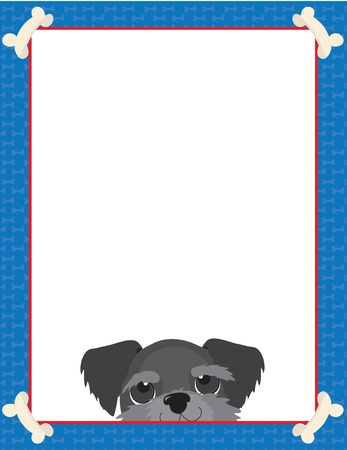 A frame or border featuring the face of a Schnauzer