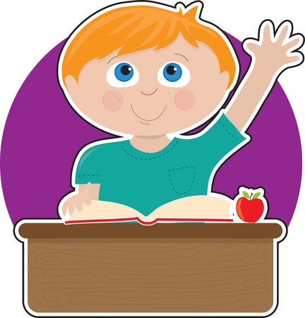 A little boy is raising his hand to answer a question in school - there is a book and an apple on his desk