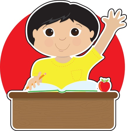A little Asian boy is raising his hand to answer a question in school - there is a book and an apple on his desk Vettoriali