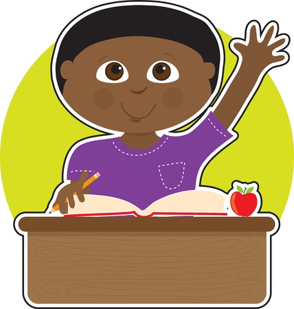 A little Black boy is raising his hand to answer a question in school - there is a book and an apple on his desk Illustration