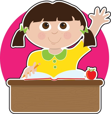 school class: A little girl is raising her hand to answer a question in school - there is a book and an apple on her desk Illustration