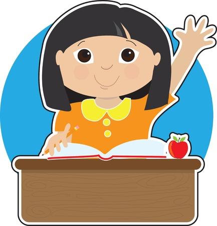 Een klein Aziatisch meisje is het verhogen van haar hand om een vraag te beantwoorden op school - er is een boek en een appel op haar bureau
