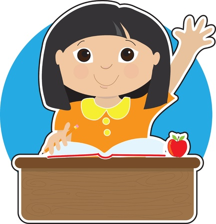 A little Asian girl is raising her hand to answer a question in school - there is a book and an apple on her desk Vettoriali