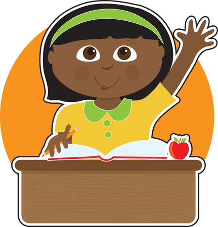 A little Black girl is raising her hand to answer a question in school - there is a book and an apple on her desk Çizim