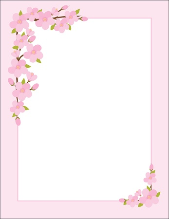 garden frame: A border, frame or background featuring sprigs of apple blossoms