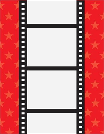 Ein Filmstreifen mit Platz f�r Text auf rotem Grund mit Sternen Illustration