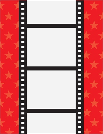A film strip with spaces for text on a red background with stars
