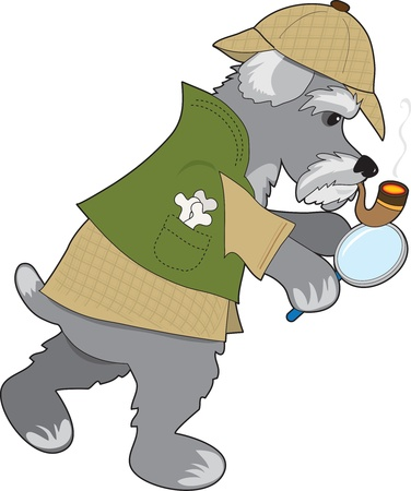 A Schnauzer dressed as a type Sherlock Holmes character is holding a magnifying glass and is looking for a clue