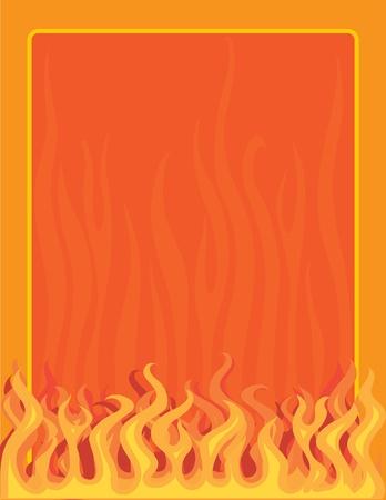 Ein Rahmen oder Rahmen mit Feuer und Flammen an der Unterkante Illustration