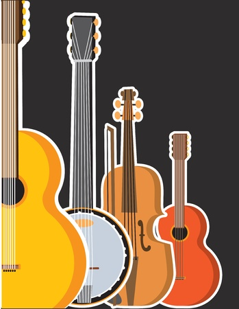 fiddles: A border or frame featuring several stringed instruments - a guitar,banjo,violin and a ukulele