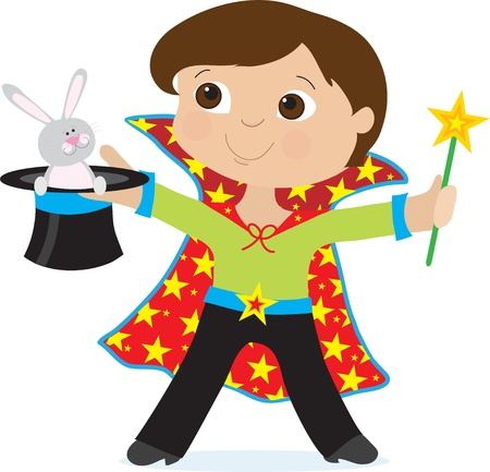 mago: Un niño vestido como un mago es la celebración de un sombrero de copa con un conejo en ella