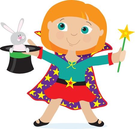 Une jeune fille habillée comme un magicien est titulaire d'un chapeau haut de forme avec un lapin dedans Illustration