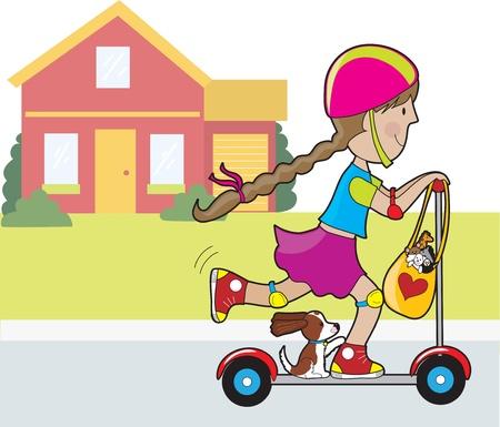 빨간 집 scooter.in 전면에 타고가는 어린 소녀와 그녀의 강아지. 좋아하는 장난감을 박제의 가방 운전대에서 걸려있다.