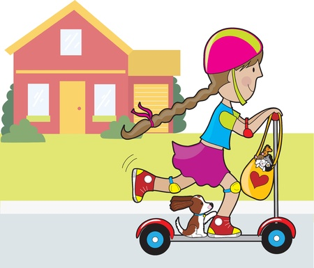 A little girl and her dog going for a ride on a scooter.in front of a red house. A bag of favorite stuffed toys is hanging from the steering wheel. Illustration