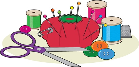 A group of sewing supplies including a pair of scissors,thread,pin cushion,some buttons, pins and a thimble