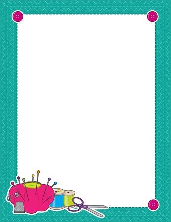knutsel spullen: Een grens of frame met naai benodigdheden in de linker hoek - schaar, speldenkussen, draad, vingerhoed
