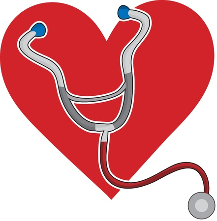 A stethoscope and a red heart background