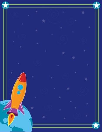 A space ship or rocket is heading into outer space from the planet Earth Stock Illustratie