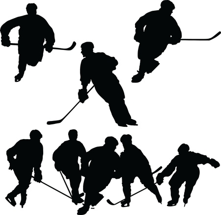 hockey player: A set of hockey silhouettes featuring single players and a group Illustration