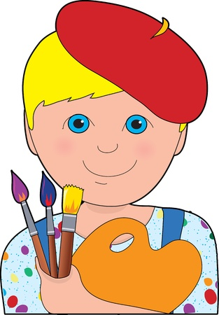 Young blonde, blue-eyed boy with red beret, holding pallet with brushes.