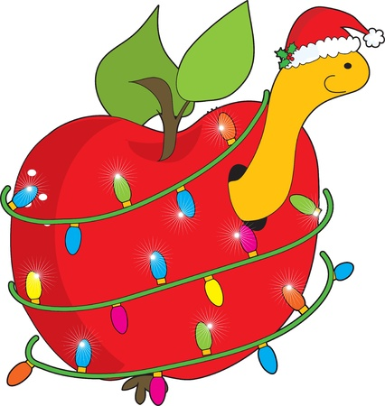 christmas apple: Natale di Apple Worm Vettoriali