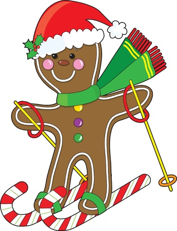 gingerbread: A cute gingerbread man is skiing on candy canes and wearing a Santa hat
