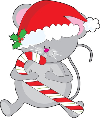 mouse: A cute, smiling mouse is holding a candy cane, and wearing a Santa hat adorned with a sprig of holly.