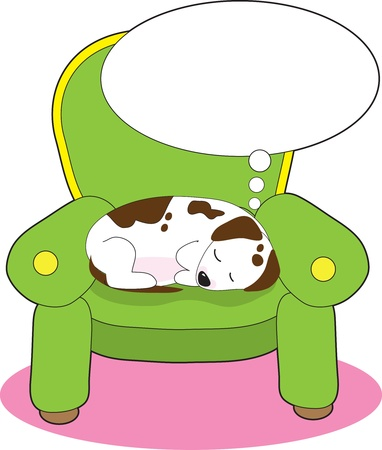 dog sleeping: A contented dog is having a dream, while asleep on a green easy chair. Illustration