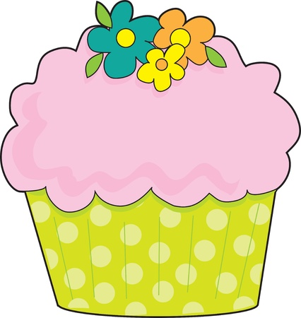 fluted: A cupcake with a fluted, lime green, polka dot cake cup, is decorated with pink icing and flowers. Stock Photo