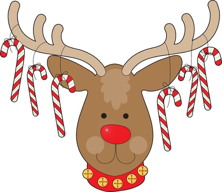 cane collars: A smiling reindeer with a red nose and a red collar, has candy canes hanging from his antlers.