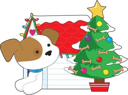 Kerst Dog House Stock Illustratie