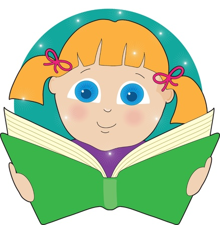 bright eyed: A bright eyed girl in pigtails is fascinated by the contents of the open book she is reading. Stock Photo