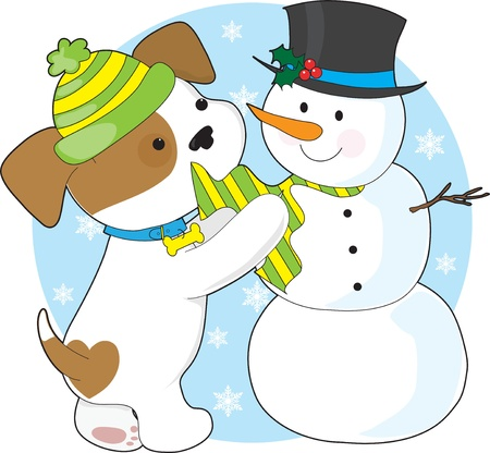A cute puppy with a striped toque, plays with a snowman with a top-hat and striped scarf.