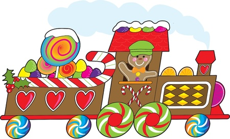 loaded: A gingerbread train with a smiling gingerbread engineer is loaded with candy canes, gum drops and lollipops and rushing towards the Christmas season. Stock Photo