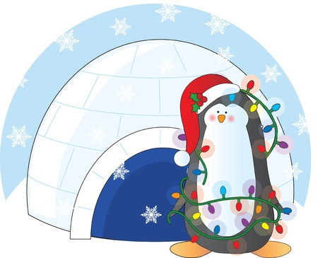 A penguin adorned with Chritmas lights and wearing a Christmas toque, stands in front of an igloo with snow flakes in the air. photo