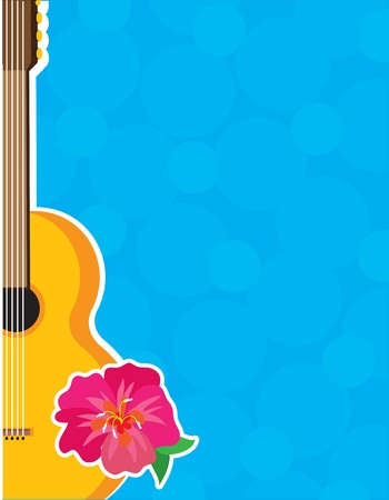 An acoustic guitar with a bright hibiscus flower over a blue background. photo