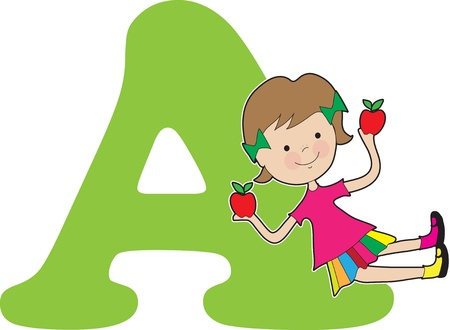 A young girl holding apples to stand for the letter A Stock fotó - 11870316