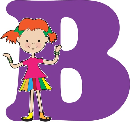 girl: A young girl holding bracelets to stand for the letter B