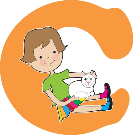 cat alphabet: Alphabet Girl C
